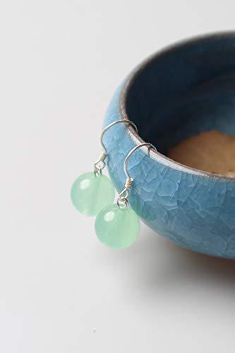 Chalcedony Link Earrings - s925 Silver Earrings Earring Dangler Eardrop Elegant Pink Chalcedony Women Girls Cute Little Princess (Green Chalcedony Earrings