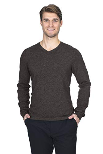 State Fusio Men's Cashmere Wool Long Sleeve Pullover V Neck Sweater Premium Quality Coffee