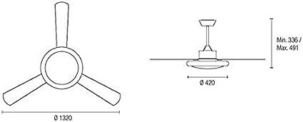 Leds-c4 Bahia 132cm Ventilador de Techo con luz y Mando a Distancia