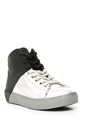 Leather Crown Hi Top Sneakers Donna Mcbi185012o Pelle Bianco/Nero
