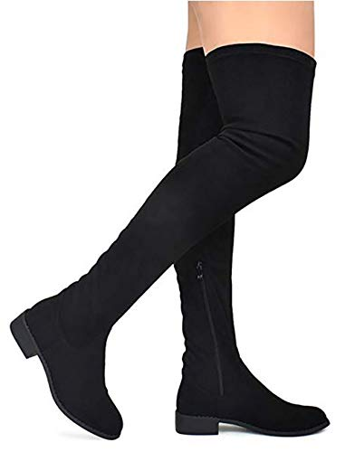 (MVE Shoes Women's Fashion Comfy Vegan Suede Block Heel Side Zipper Thigh High Over The Knee Boots, Black Size 8.5)
