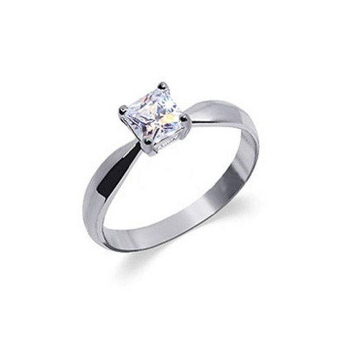 (925 Sterling Silver Princess Cut Cubic Zirconia Ring Size 8 Solitaire Prong Setting Clear CZ)