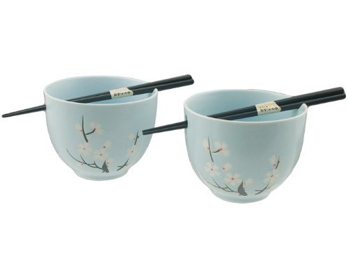 Japanese Dinnerware Ceramic Ramen Udon Noodle Bowl Set of 2 with Bamboo Chopsticks Gift Pack Good Quality (Blue Cherry Blossom)