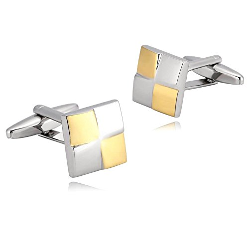 KnSam Stainless Steel Silver Gold Gothic Smooth Square Cufflinks for Mens Shirt Stud (Jason Winters Red Clover)
