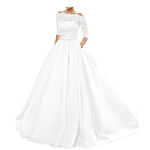 (onlinedress Women's Lace Wedding Dress 3/4 Sleeves Sweep Train Satin Bridal Gown Size24 White)