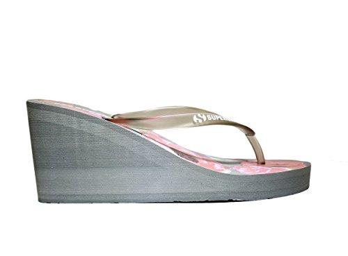 SUPERGA S24R136 Zapatos de mujer sandalias de cuña, tacón alto, NUEVA COLECCIÓN PRIMAVERA VERANO 2016 DE GOMA GRIS