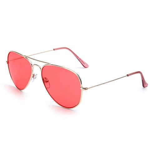 Retro Mirror Aviator Sunglasses Flash Tinted Lens Eyeglasses Men UV400