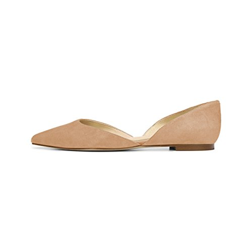 YDN Casual Flats Heel Dorsay for Driving Women Toe Pumps Pointed on Nude Low Shoes Block Slip wUqqxIr