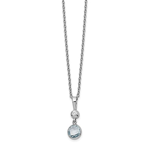 ICE CARATS 925 Sterling Silver Blue Topaz Diamond Chain Necklace Gemstone Fine Jewelry Gift Set For Women Heart by ICE CARATS