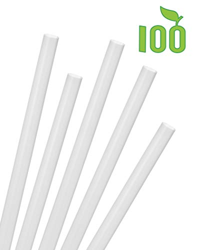Greenhouse 1/2 Inch Wide Giant Jumbo Boba Straws, Pack Of 100, Compostable Biodegradable PLA, Unwrapped Fat Colossal Bubble Tea Smoothie Shake Straw