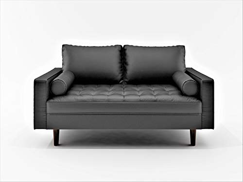 - Container Furniture Direct S5452-L Orion Mid Century Modern PU Leather Upholstered Living Room Loveseat with Bolster Pillows, 50.39
