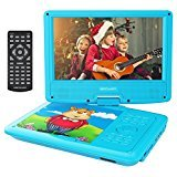 """Electronics : DBPOWER 9"""" Portable DVD Player with Rechargeable Battery, Swivel Screen, SD Card Slot and USB Port, with 1.8M Car Charger and 1.8M Power Adaptor (Blue)"""