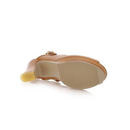 Amoonyfashion Femmes Ouvert Peep Toes Talon Haut Plate-forme Pu Matériel Souple Solides Sandales Marron