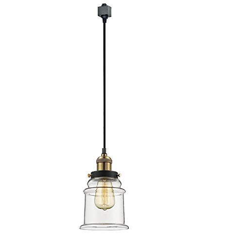 KIVEN H-Type 3 Wire Miniature Pendant Track Lighting Fixture Restaurant Chandelier Decorative Chandelier Instant Pendant Industrial Factory Glass Pendant Lamp,Bulb Include,One Light by Kiven (Image #6)