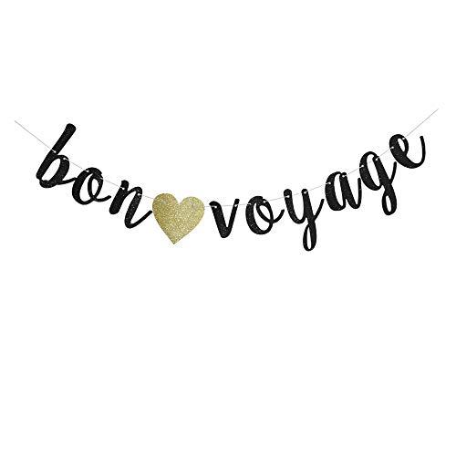 Bon Voyage Signs (Bon Voyage Banner, Black Glitter Sign Garlands for Travel Theme Party, Moving/Graduation/Retirement Party Supplies)