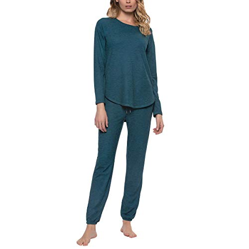 Felina | Comfyz Coco Womens 2-Piece Lounge Set | Brushed Jersey LS Top & Jogger (Small, Turkish Tile Blue)