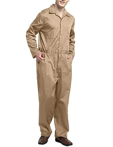 - TOPTIE Men's Regular Long Sleeve Snap Zip-Front Coverall-Khaki-2XL