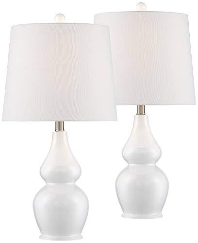 Jane Modern Table Lamps Set of 2 Ceramic White Double Gourd Drum Shade for Living Room Family Bedroom Bedside Nightstand - 360 Lighting (Lamp Base Table White)