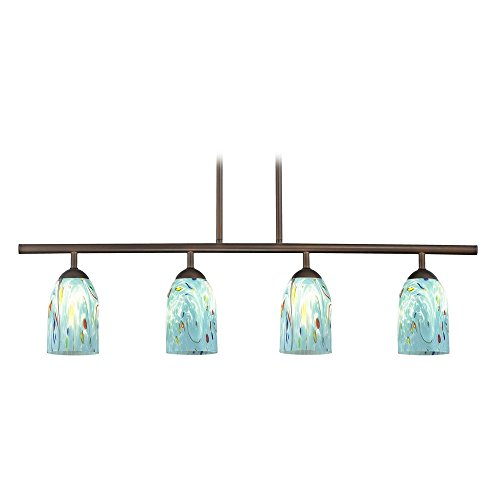 4-Light Linear Pendant Light with Turquoise Art Glass in Bronze (Art Glass Light Fixture)