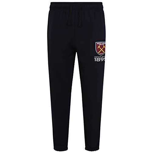 (West Ham United Fc Official Gift Mens Fleece Joggers Jog Pants Black)