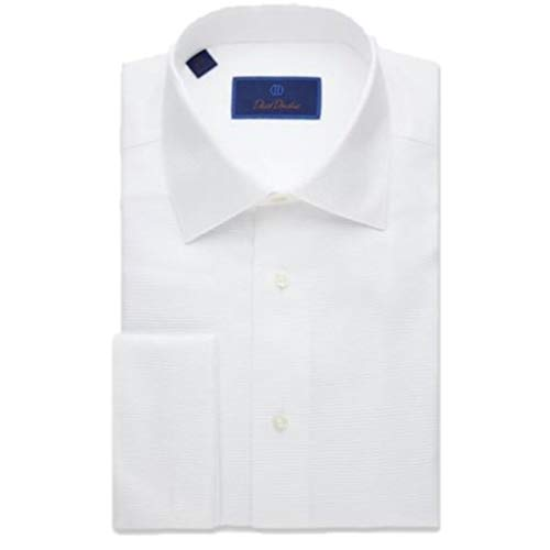 David Donahue Horizontal Rib Regular Fit Tuxedo Dress Shirt - White - Size 18.5, 36/37]()