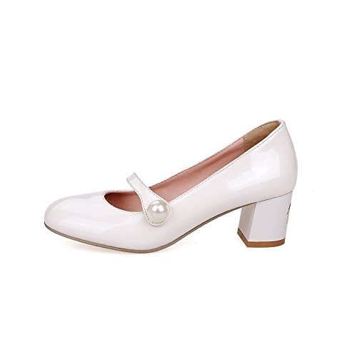 BalaMasa Girls Round Toe Bead Low-Cut Uppers Imitated Leather Pumps-Shoes White h9KkQ