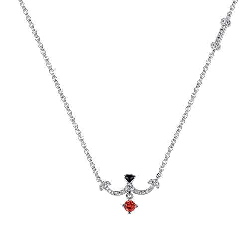 VANA JEWELRY Animal Doggie Sterling Silver Necklace for Women Black &White& Orange Puppy Pendant Teen Girls Fashion Jewelry Crystal Diamond CZ Cubic Zirconium Stone for Her w/Boxes ()