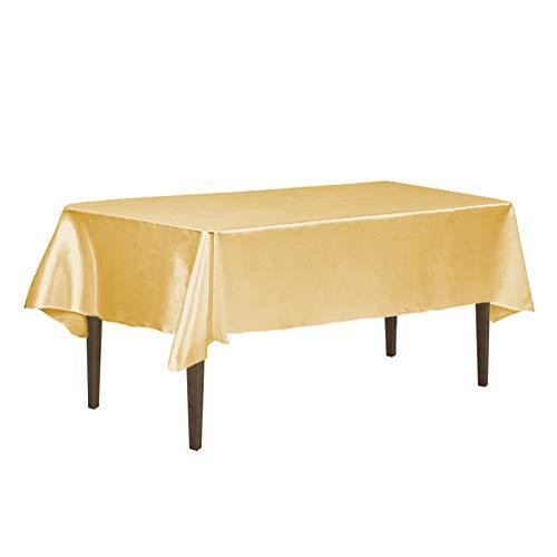 LinenTablecloth 60 x 126-Inch Rectangular Satin Tablecloth Gold -