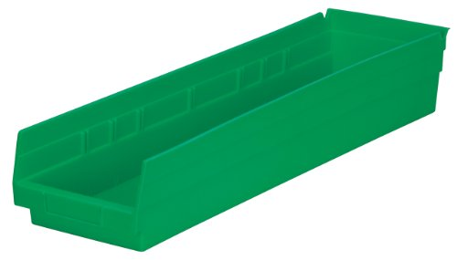 Akro-Mils 30164 24-Inch by 6-Inch by 4-Inch Plastic Nesting Shelf Bin Box, Green, Case of 6 ()