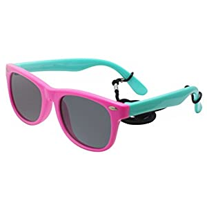 Coolsome Rubber Flexible Kids Polarized Sunglasses With Strap for Boys Girls Children Age 3-10 Years Old (Pink Blue)