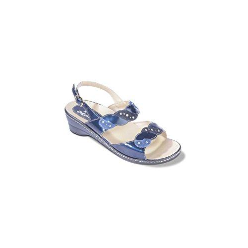 02946 BLU Scarpa donna Melluso blu sandalo zeppa basso