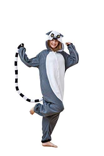 Ring-Tailed Lemur Pajamas,Animal Jumpsuit Halloween Cosplay Costumes for Women and Men Large -