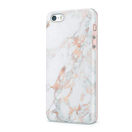 uCOLOR Case Compatible with iPhone 5S,iPhone 5 Case,iPhone SE Case Rose Gold Marble Dual-Layer Flexible TPU Protective Cover Compatible for iPhone SE/5S/5 (Iphone 5s Gold Wrap)