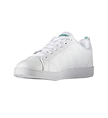 adidas Kids' VS Advantage Clean Sneaker, White/White/Green, 1 M US Little Kid