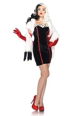Leg Avenue Disney 4Pc. Cruella Costume Dress Bolero Straps Furry Wrap, Black/White, Small/Medium
