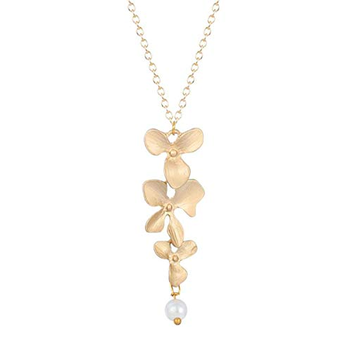 Libaraba Three Orchids Flowers with Bead Pendant Necklace with Jewelry Box,Orchid Necklace for Women (Golden)