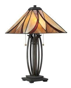 Quoizel TF1180TVA Asheville Tiffany Table Lamp, 2-Light, 150 Watts, Valiant Bronze (25