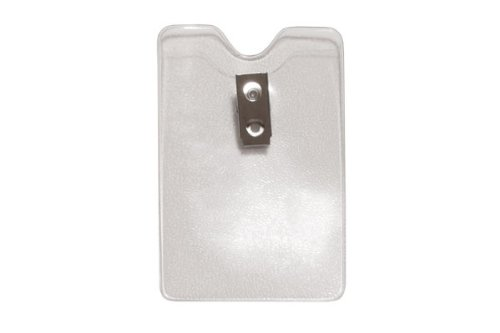 Pack of 100 Clear Vinyl 3-7//16 x 2-5//16 Size Orange Peel Texture Credit Card Size 2 Hole Clip Brady People Id 1810-1200 Vertical Badge Holder