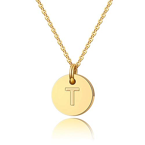 Filled Disc Gold (Turandoss Letter Initial Necklace - 14K Gold Filled Round Disc T Letter Necklace, Personalized Tiny Disc Initial Letters T Necklace for Women Kids Children, Love Necklace Jewelry Best Gift for Girls)