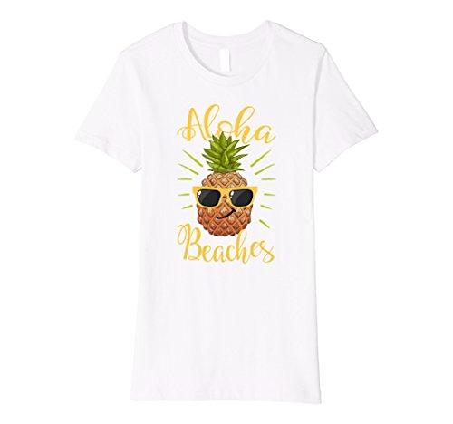 Womens Aloha Beaches Hawaii Pineapple Shades Shirt Vacation Gift Medium - Sunglasses Hawaii Made In
