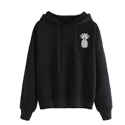 con stile maglione semplice manica lunga con Womens felpa ananas Comradesn cappuccio Grande cappuccio pullover wSqxYRnfw