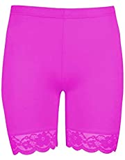 Janisramone Girls Kids New Plain Lace Trim Viscose Dance Active Tights Summer Cycling Shorts Hot Pants