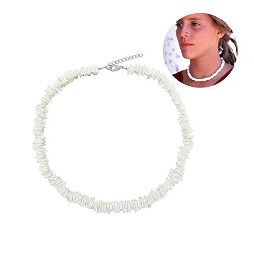 Women White Puka Shell Necklace Conch Clam Chips Puka Shell Choker Necklace Native Hawaiian Beach Shell Adjustable Collar Necklace for Girls Men Boys