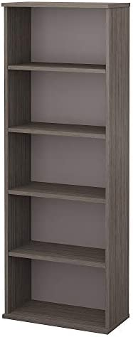 Bush Furniture Commerce 5 Shelf Bookcase in Cocoa and Pewter
