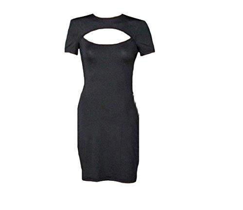 Confortables Femmes Crewneck Affaires Luxe Couleur Pure Creux Robe Moulante Pattern3