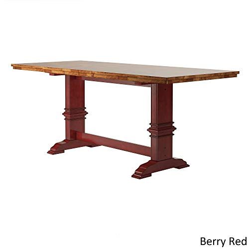 Inspire Q Eleanor Solid Wood Counter Ight Trestle Base Dining Table by Classic Red Oak Finish, Red Finish