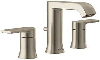 Moen T6708BN Genta Two-Handle Widespread Modern Bathroom Faucet, Valve Required, Brushed Nickel