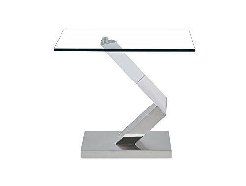 Global Furniture T987E Geometric Style Base End Table, Silver/Clear