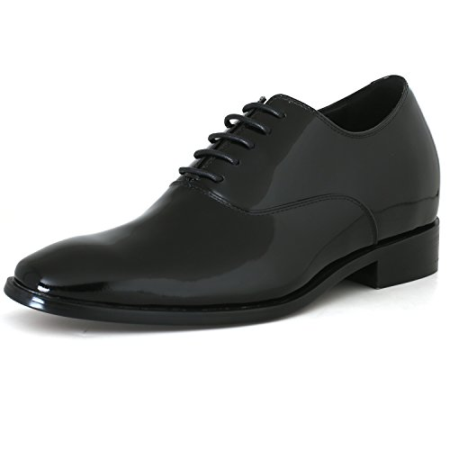 CHAMARIPA Men's Invisible Height Increasing Elevator Shoes-Black Genuine Leather Tuxedo Dress Formal Oxford-2.76 Inches Taller K6532B US 10