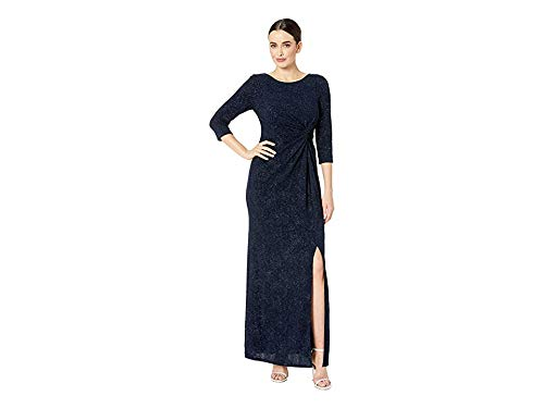 Alex Evenings Womens Long Dress with Knot Front Detail